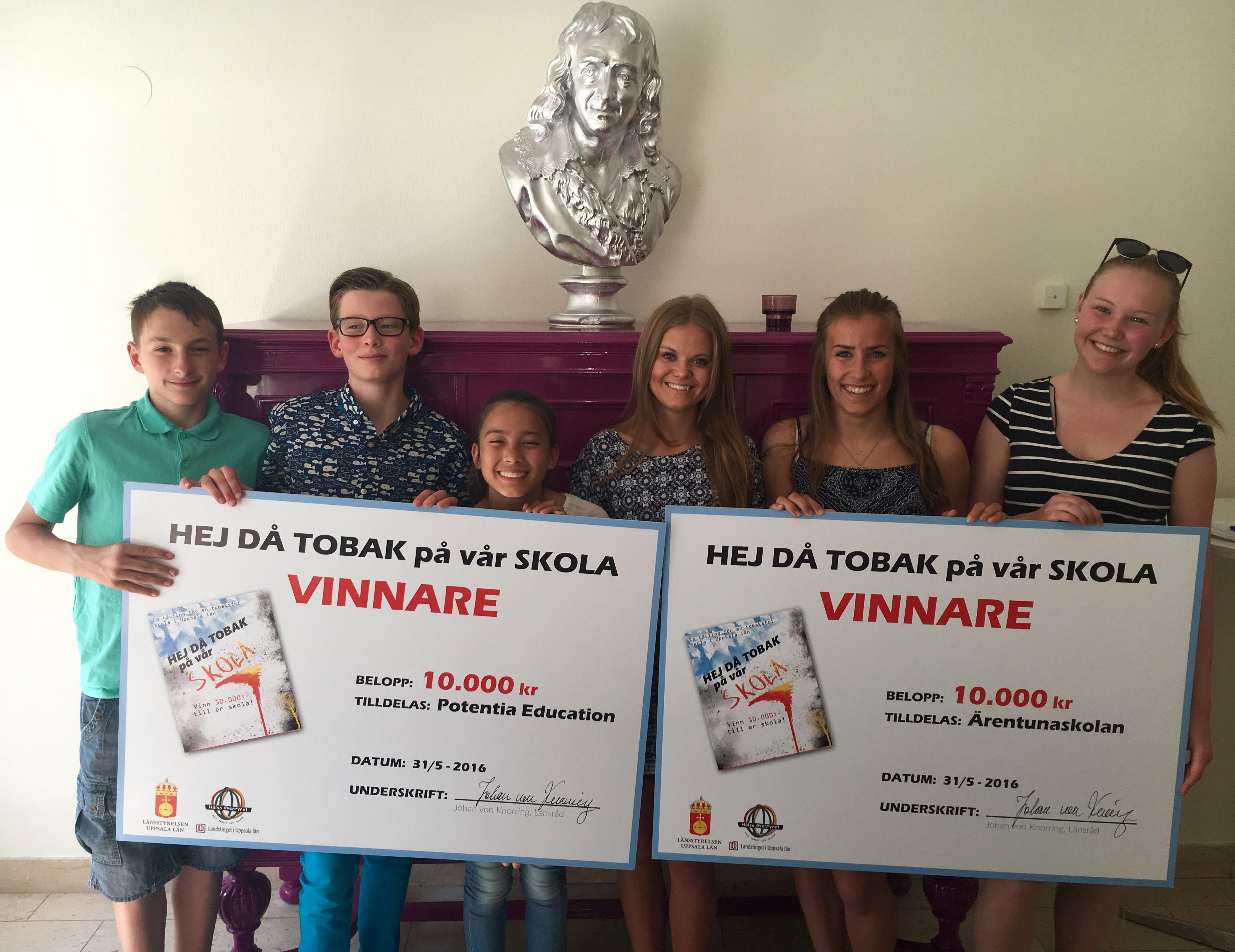 """Två skolor vinnare i tävlingen """"HEJ DÅ TOBAK på vår skola!"""""""